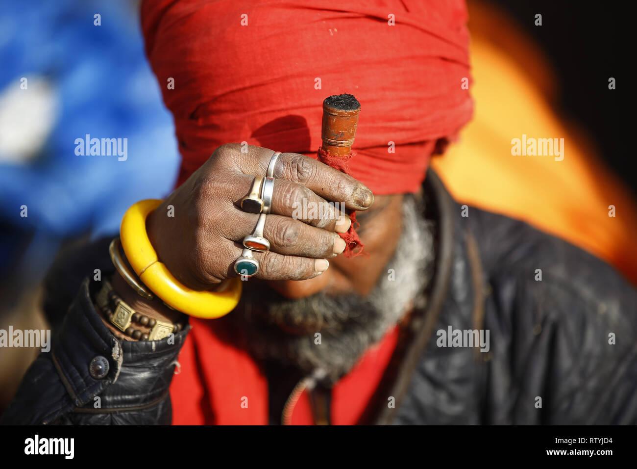 Kathmandu Nepal 3rd Mar 2019 A Sadhu Or Holy Man Followers Of Lord Shiva Prepares To
