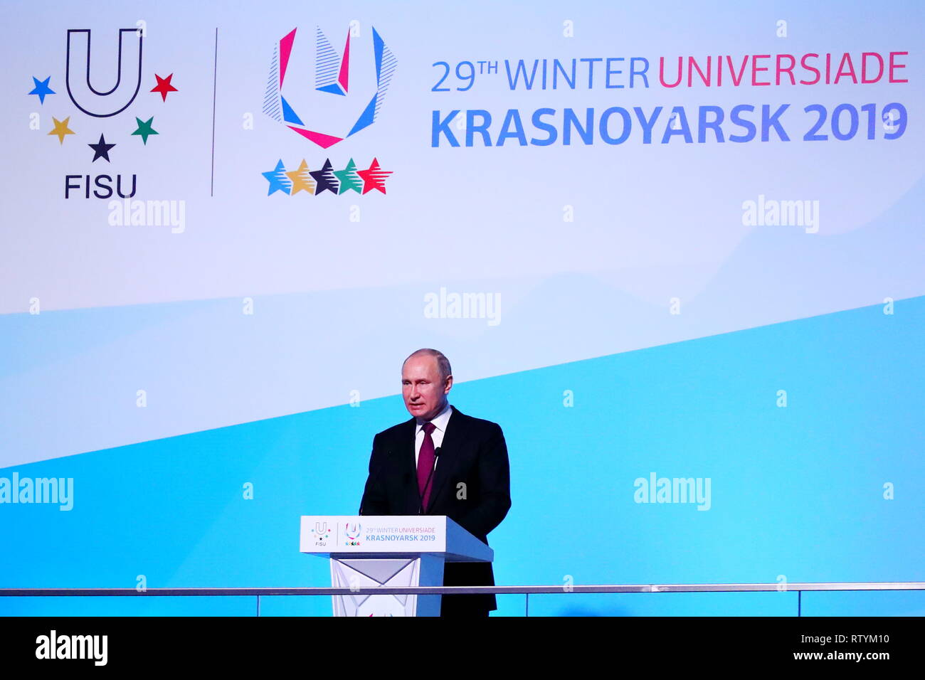 Krasnoyarsk, Russia. 2nd March, 2019. Vladimir Vladimirovich Putin, MARCH 2, 2019 : Opening Ceremony during 29th Winter Universiade Krasnoyarsk 2019 at Platinum Arena, Krasnoyarsk, Russia. Credit: Naoki Nishimura/AFLO SPORT/Alamy Live News - Stock Image