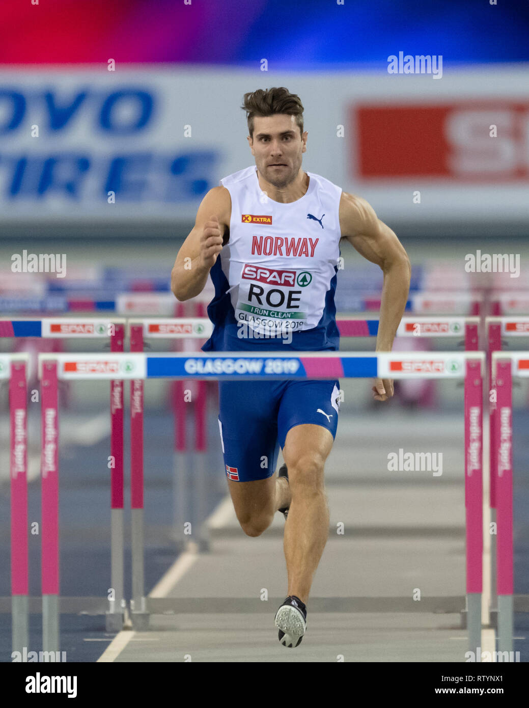 Glasgow, Scotland, UK. 3rd March, 2019. Glasgow, UK. 03rd Mar, 2019. Martin Roe (NOR) in Men's Heptathlon - 60m Hurdles heats during European Athletics Indoor Championships Glasgow 2019 at Emirates Arena on Sunday, 03 March 2019. GLASGOW SCOTLAND.  (Editorial use only, license required for commercial use. No use in betting, games or a single club/league/player publications.) Credit: Taka G Wu/Alamy News Credit: Taka Wu/Alamy Live News - Stock Image