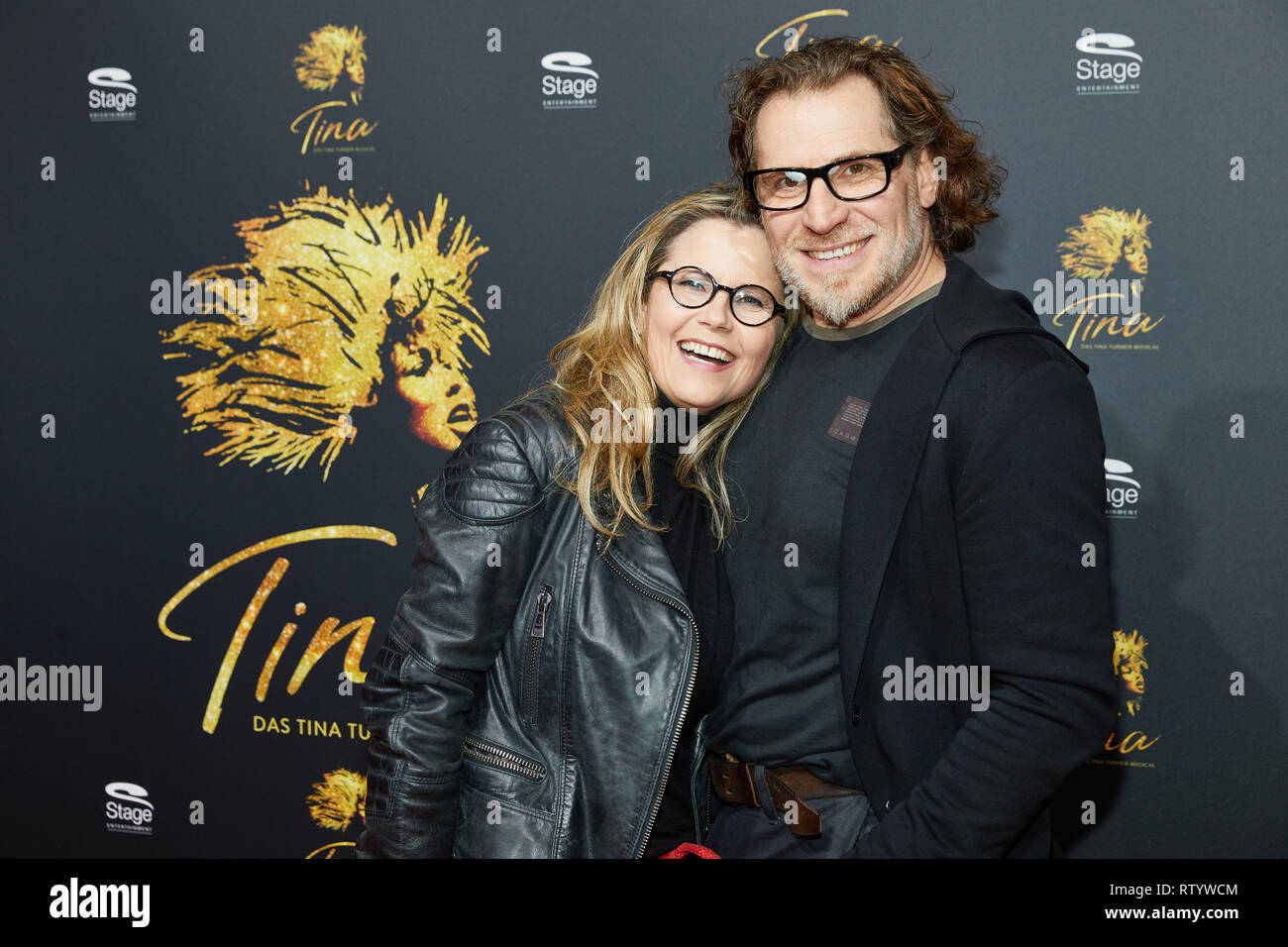 "Hamburg, Germany. 03rd Mar, 2019. Michaela Schaffrath, actress, and Carlos Anthonyo come to the German premiere of the musical ""Tina - Das Tina Turner Musical"" at the Operettenhaus. Credit: Georg Wendt/dpa/Alamy Live News Stock Photo"