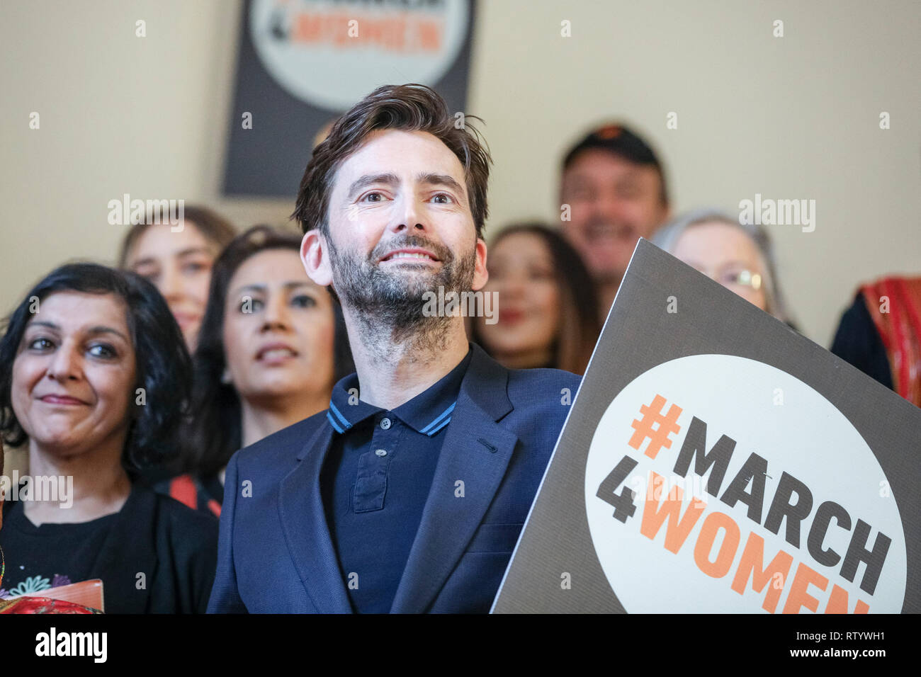 London, UK, 3rd Mar 2019. Actor David Tennant (right) and actress Meera Syal (left next to him). March4Women is CARE International's annual month of action for gender equality. This year's London event is held at Central Hall, rather than as an outdoor rally, and features speeches, debate and musical performances from celebrity supporters. Credit: Imageplotter/Alamy Live News - Stock Image