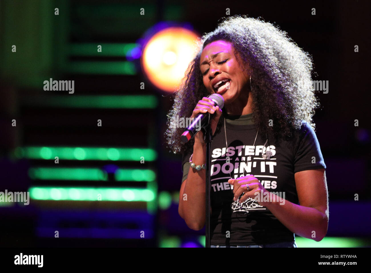 London, UK, 3rd Mar 2019. Singer Beverley Knight performs passionately. March4Women is CARE International's annual month of action for gender equality. This year's London event is held at Central Hall, rather than as an outdoor rally, and features speeches, debate and musical performances from celebrity supporters. Credit: Imageplotter/Alamy Live News - Stock Image