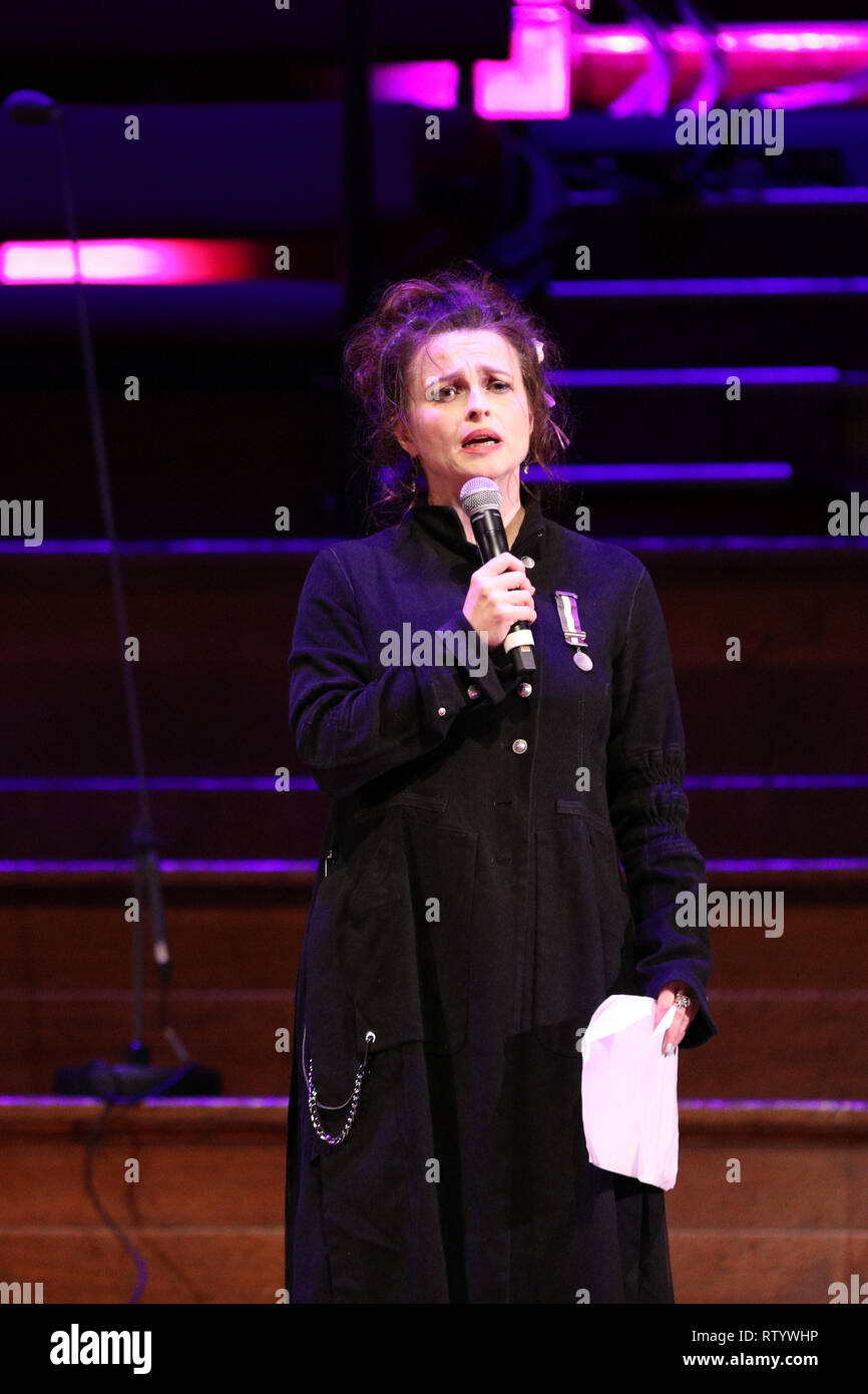 London, UK, 3rd Mar 2019.  Actresss Helena Bonham Carter. March4Women is CARE International's annual month of action for gender equality. This year's London event is held at Central Hall, rather than as an outdoor rally, and features speeches, debate and musical performances from celebrity supporters. Credit: Imageplotter/Alamy Live News Stock Photo