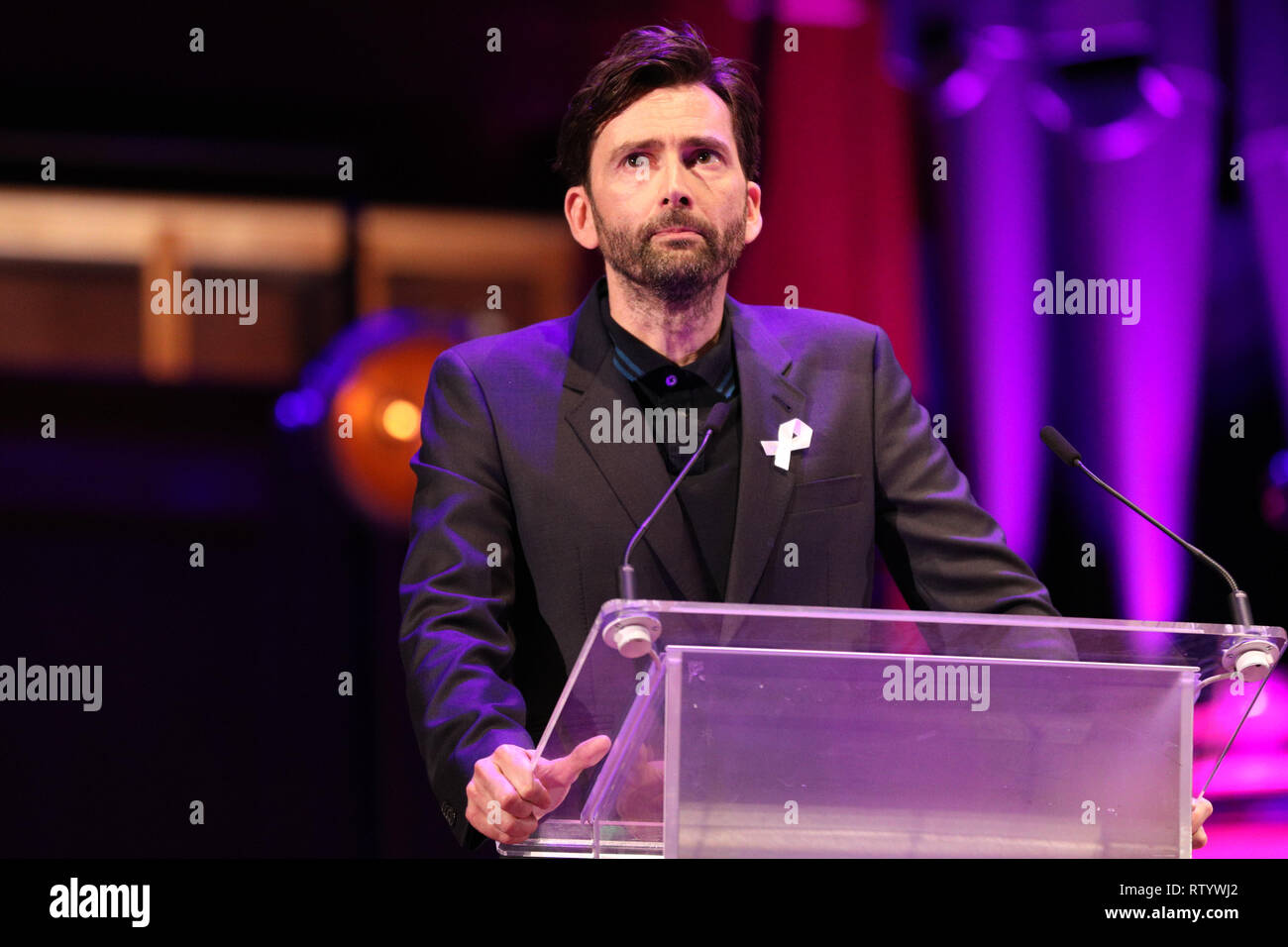 London, UK, 3rd Mar 2019. Actor David Tennant speaks. March4Women is CARE International's annual month of action for gender equality. This year's London event is held at Central Hall, rather than as an outdoor rally, and features speeches, debate and musical performances from celebrity supporters. Credit: Imageplotter/Alamy Live News - Stock Image