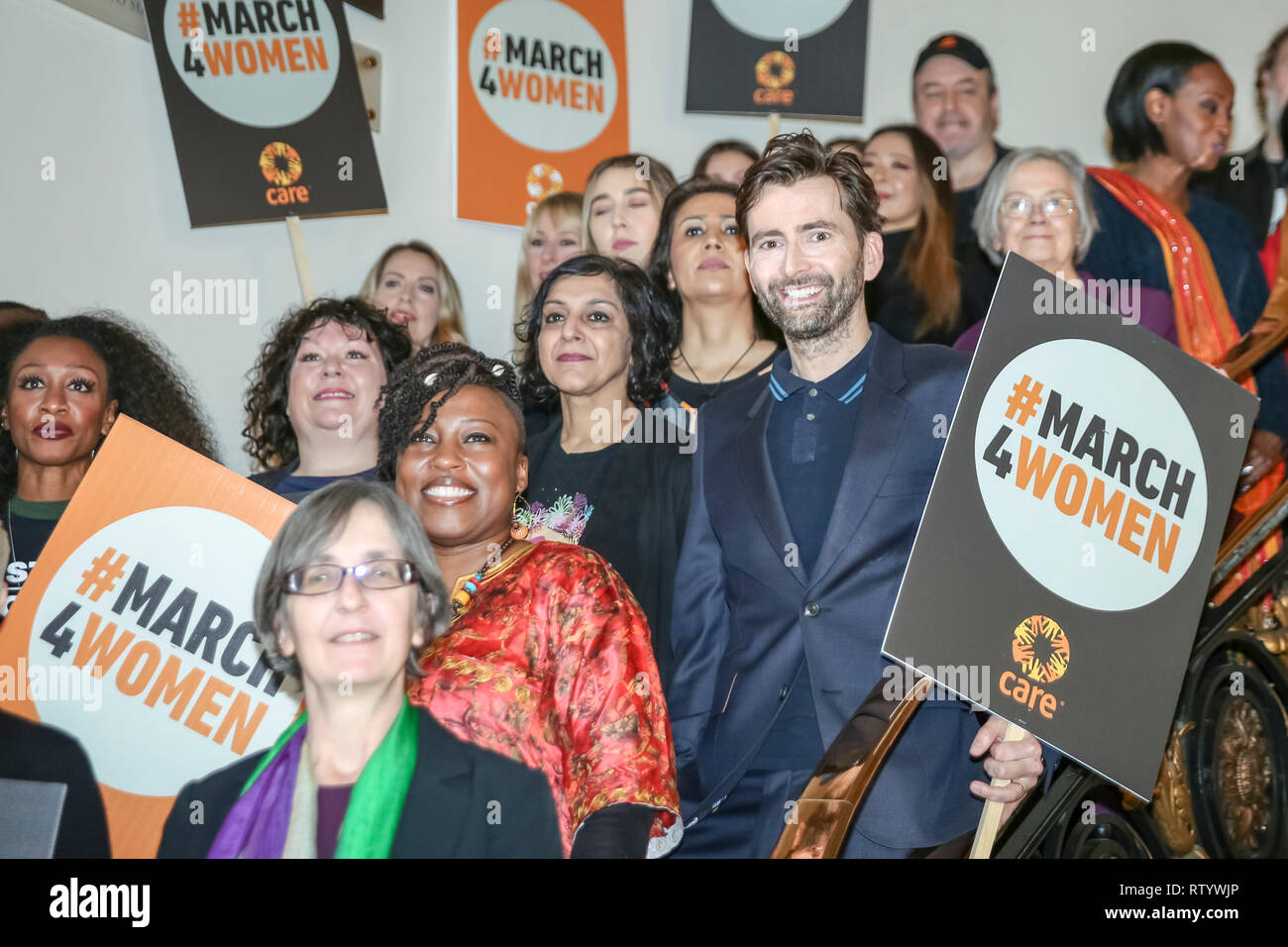 London, UK, 3rd Mar 2019.. Actor David Tennant poses with the other speakers and celebrities. March4Women is CARE International's annual month of action for gender equality. This year's London event is held at Central Hall, rather than as an outdoor rally, and features speeches, debate and musical performances from celebrity supporters. Credit: Imageplotter/Alamy Live News - Stock Image