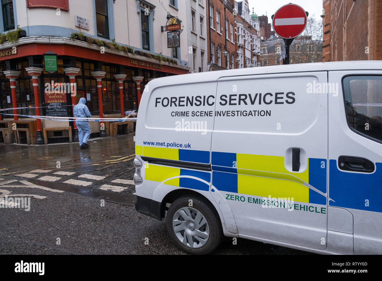 Soho, London, UK - March 3, 2019: A forensic services van  at the crime scene outside in Romilly Street in Soho. Credit: michelmond/Alamy Live News - Stock Image