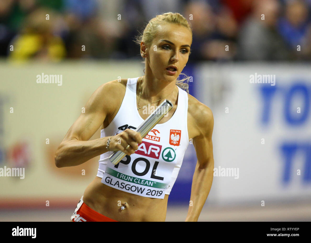 Emirates Arena, Glasgow, UK. 3rd Mar, 2019. European Athletics Indoor Championships, day 3; Justyna Swiety-Ersetic (POL) on her way to claim gold in the womens 4x400m relay Credit: Action Plus Sports/Alamy Live News - Stock Image