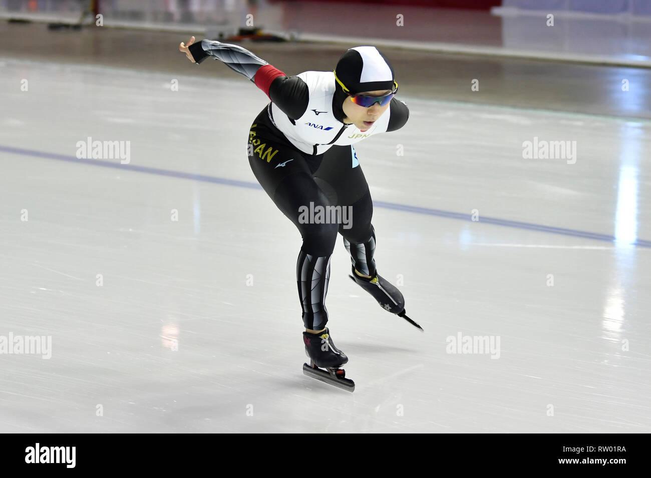 Speed Skating ISU World Championships Allround 2019 on March 2 2019 a the Olympics Oval in Calgary, Canada. Miho Takagi (JPN) Credit: Huub Snoep/SCS/AFLO/Alamy Live News - Stock Image