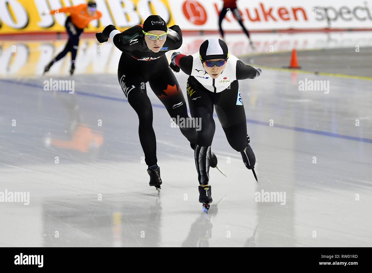 Speed Skating ISU World Championships Allround 2019 on March 2 2019 a the Olympics Oval in Calgary, Canada. Miho Takagi (JPN) vs Isabelle Weidemann Credit: Huub Snoep/SCS/AFLO/Alamy Live News - Stock Image