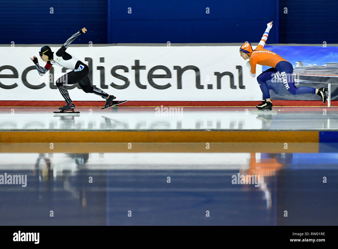 Speed Skating ISU World Championships Allround 2019 on March 2 2019 a the Olympics Oval in Calgary, Canada. Ireen Wust (NED) vs Miho Takagi (JPN) ) Credit: Huub Snoep/SCS/AFLO/Alamy Live News - Stock Image