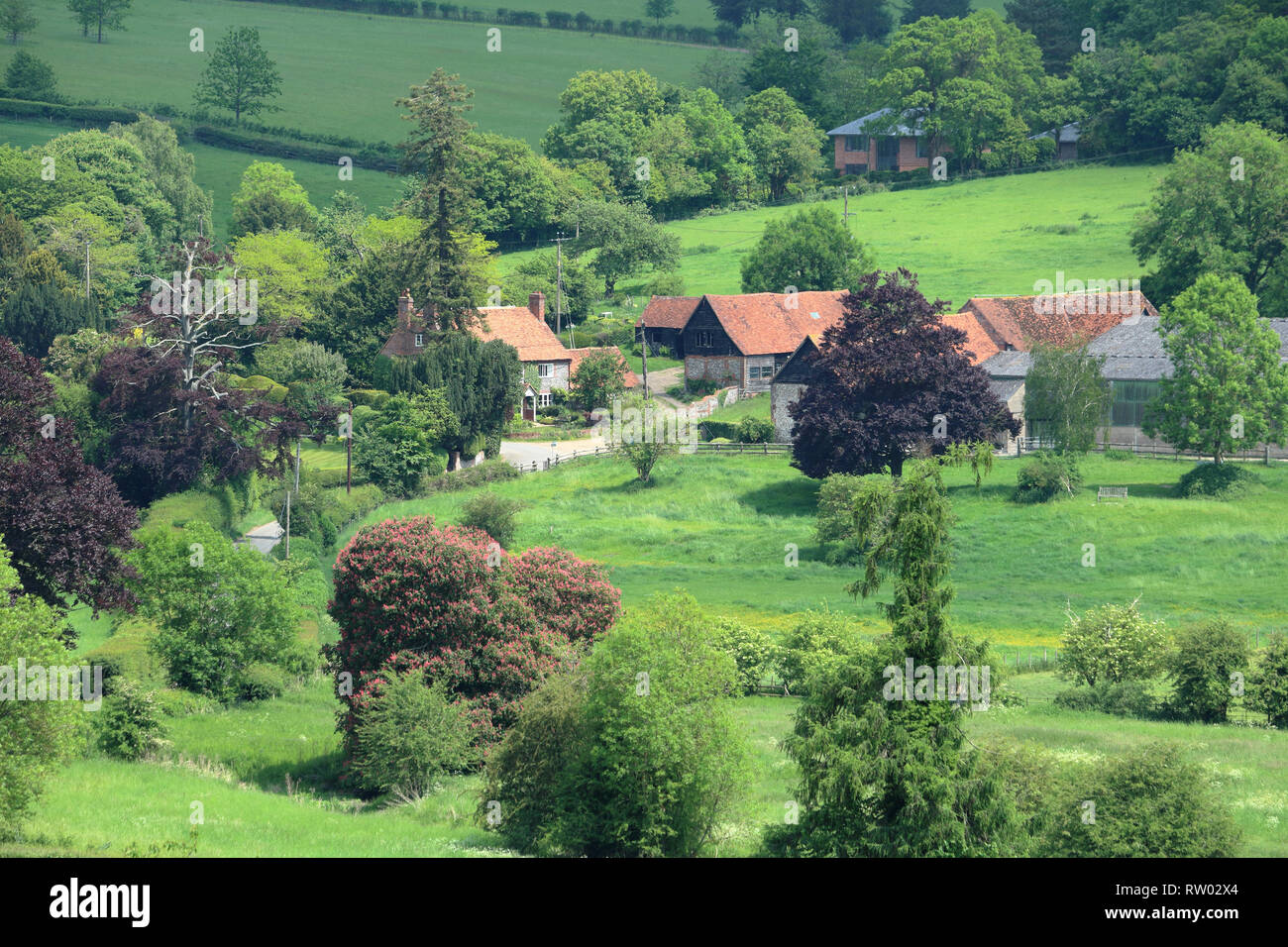 An English Rural Landscape in the Hambleden Valley in the Chiltern Hills with Farmhouse in the valley - Stock Image
