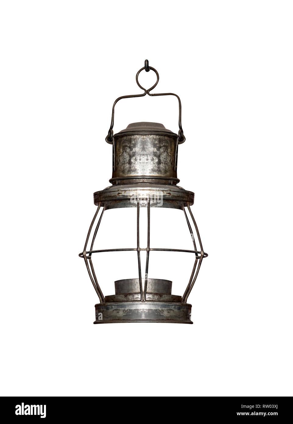 Old kerosene lamp isolated on white background - Stock Image