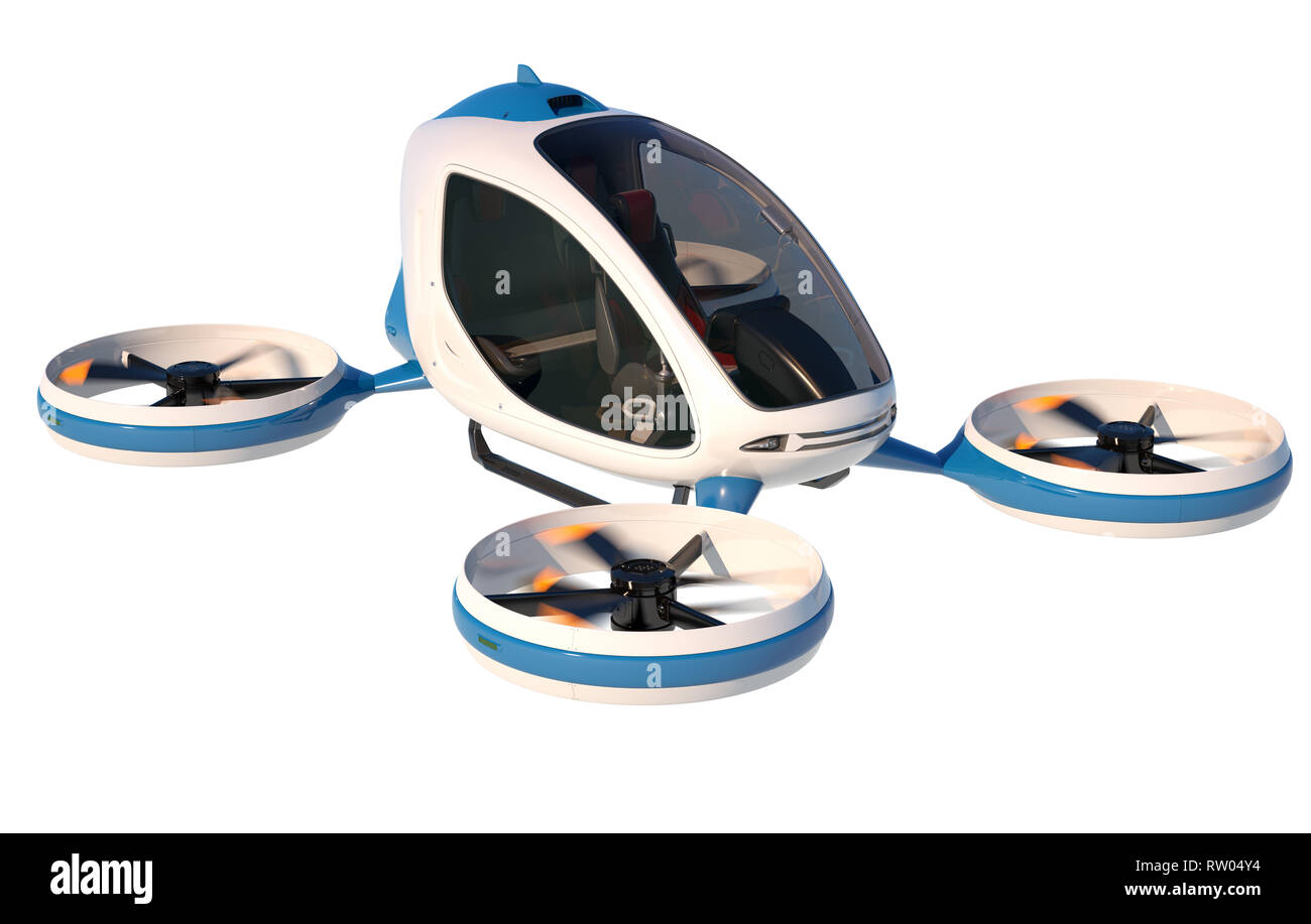 Electric Passenger Drone on white background. This is a 3D model and doesn't exist in real life. 3D illustration - Stock Image