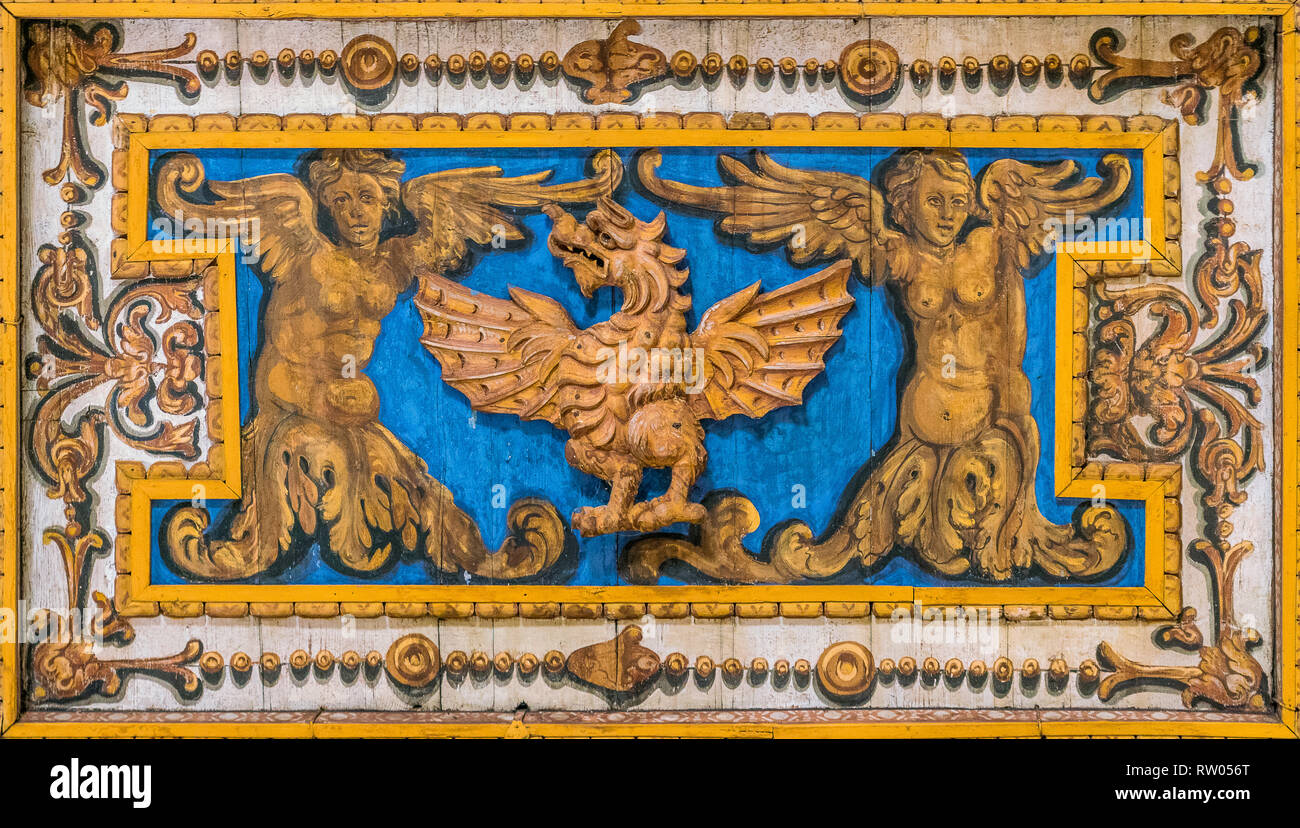 Decorative detail with Borghese Family dragon in the ceiling of the Basilica of San Sebastiano Fuori Le Mura, in Rome, Italy. - Stock Image