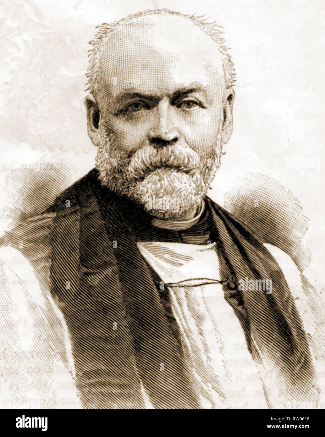 A contemporary portrait of Thomas Stevens (1841-1920) First Anglican Bishop of Barking, England (previously Vicar of St John's, Stratford). A Freemason, he became joint Grand Chaplain of the United Grand Lodge of England - Stock Image