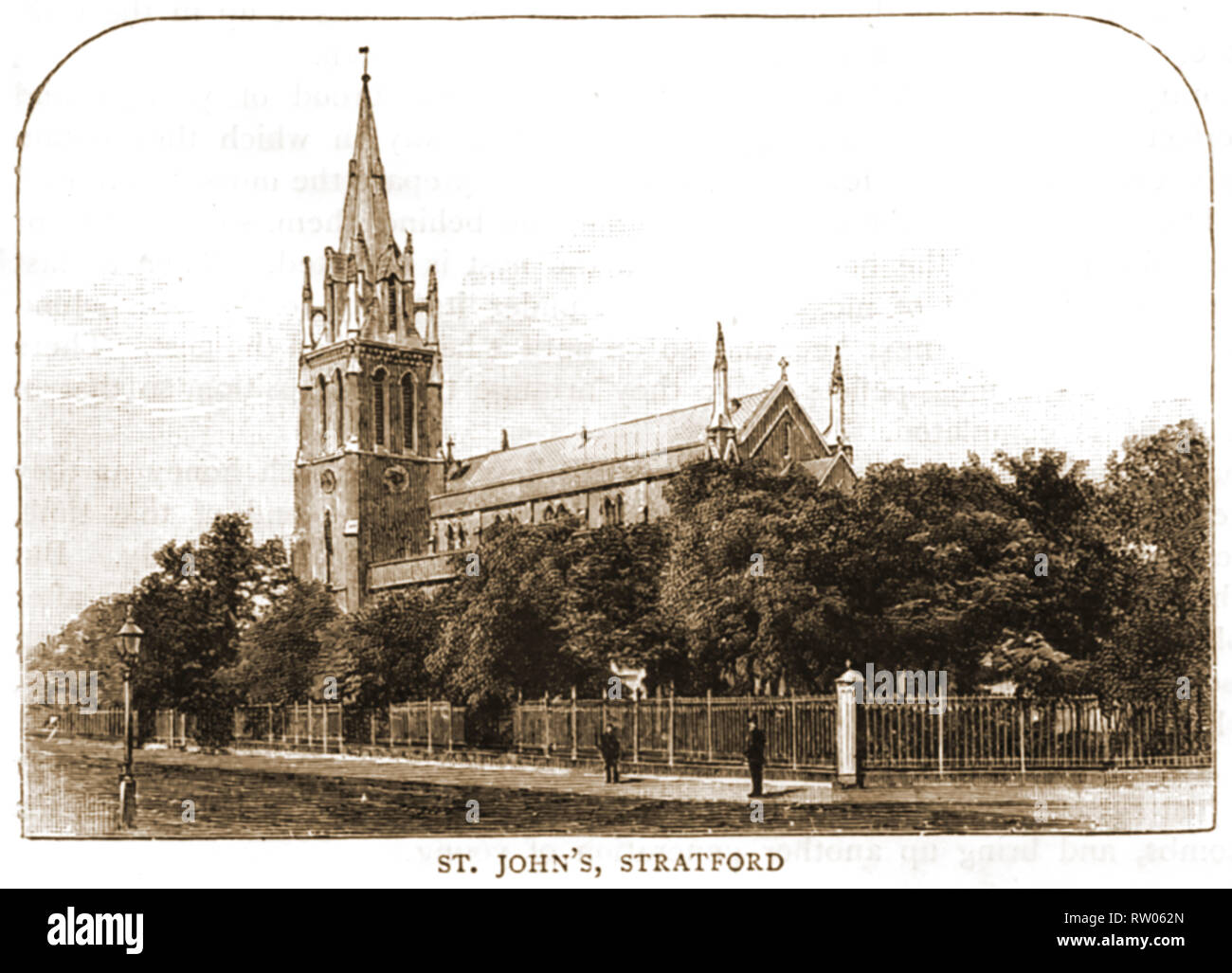 An old illustration showing the Church of St John's Stratford, England. It's one time vicar was Thomas Stevens (1841-1920) First Anglican Bishop of Barking, England . A Freemason, he became joint Grand Chaplain of the United Grand Lodge of England - Stock Image