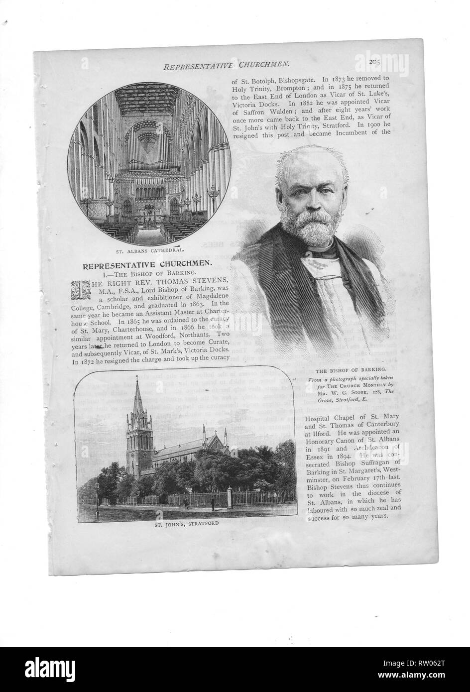 A contemporary portrait of Thomas Stevens (1841-1920) First  Anglican  Bishop of Barking, England with inset of St John's Church, Stratford. (Previously Vicar of St John's, Stratford) A Freemason, he became joint Grand Chaplain of the United Grand Lodge of England. - Stock Image