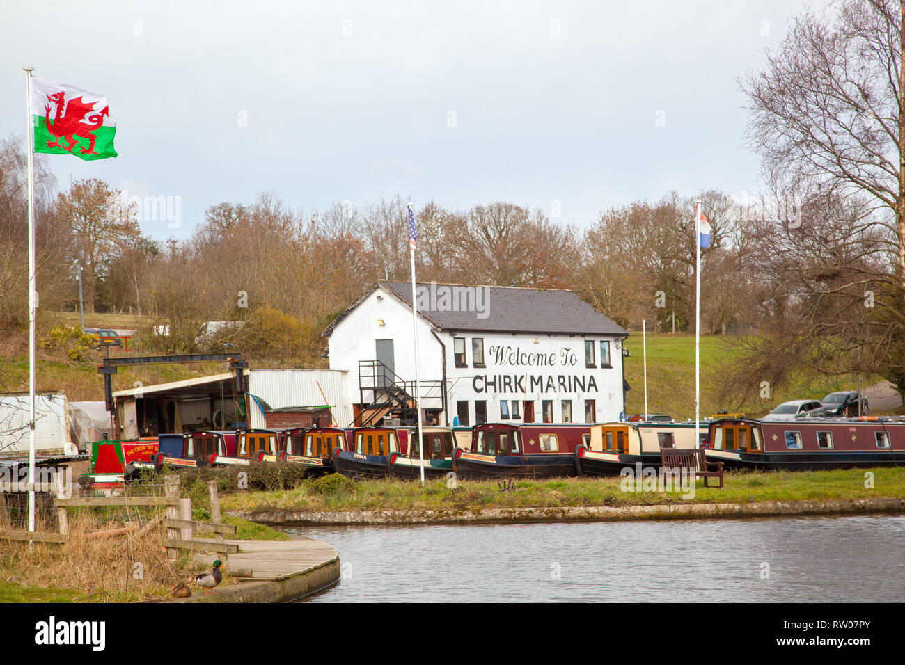 Chirk narrowboat marina on the Llangollen canal in North Wales UK Stock Photo