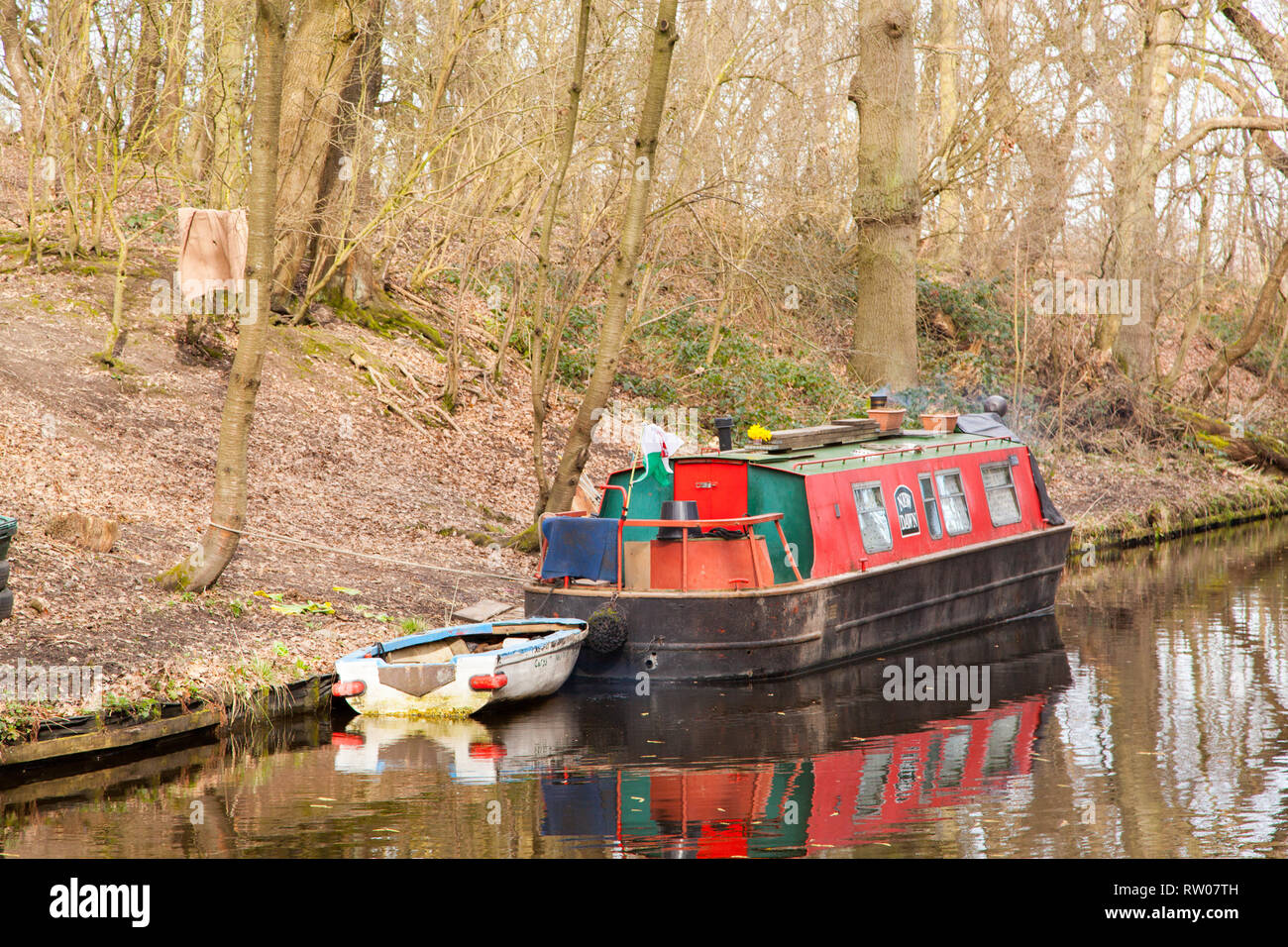 Narrowboat houseboat  moored on the Llangollen canal inland waterway near Chirk in North Wales UK - Stock Image