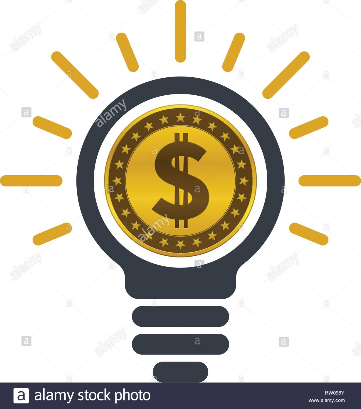 Light bulb with dollar coin on white background  Ideas of