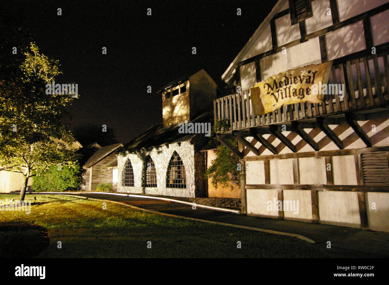 A building in the Medieval Village at Medieval Times dinner theater attraction. Kissimmee, Florida, USA - Stock Image