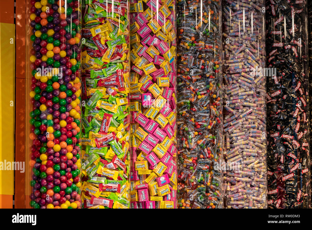 Netherlands; Gouda, 2017, displays of colourful candy notably Nerds the Candy of the year in 1985. - Stock Image