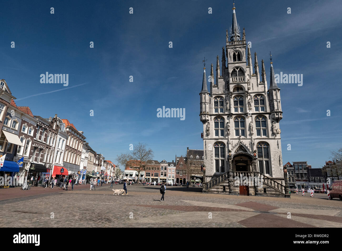 Netherlands; Gouda, 2017, city center, showing its famous 15th century Town hall, The place where Gouda chesse fair takes place. - Stock Image