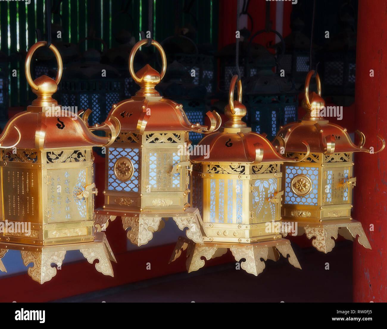 Japanese lanterns in Nara, Japan. Stock Photo