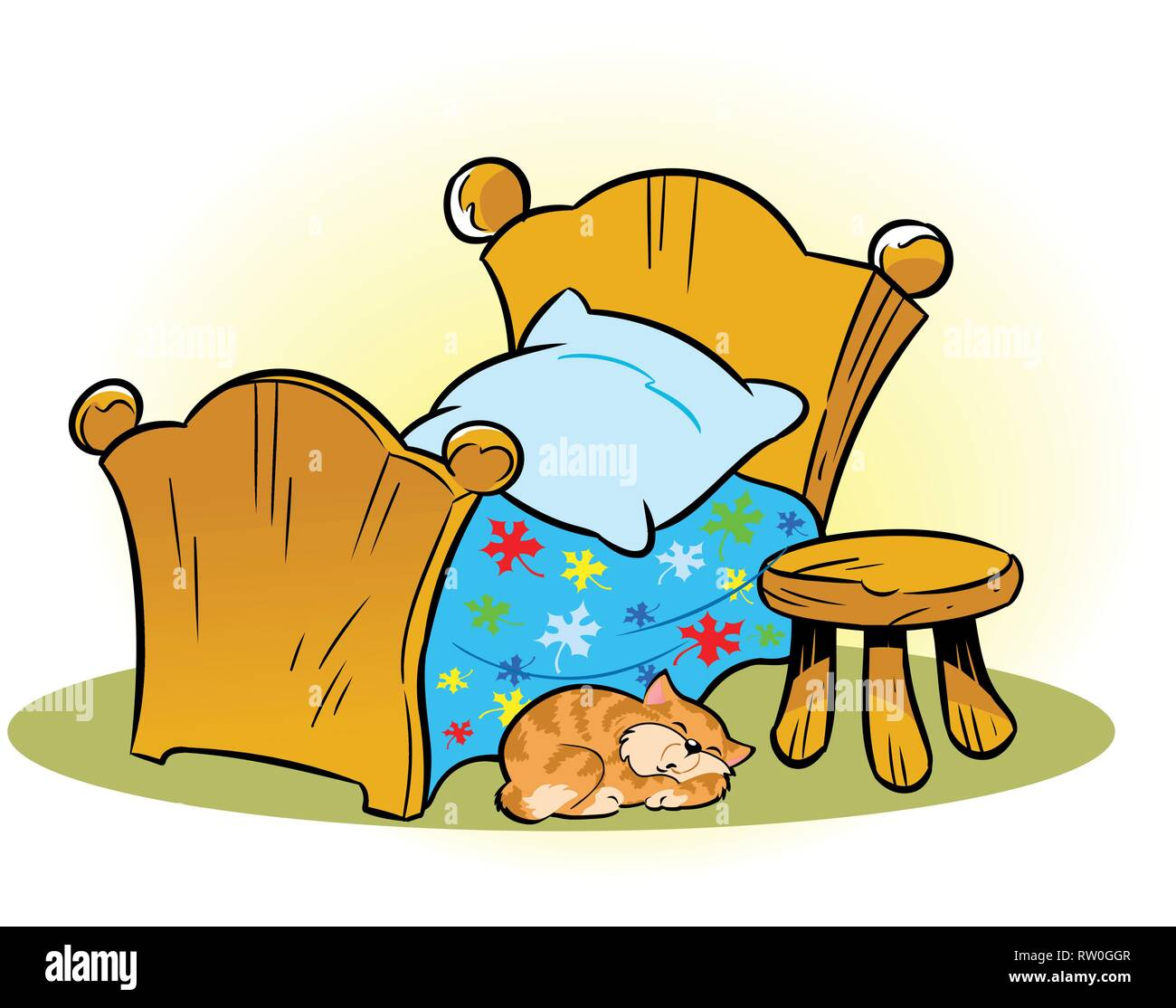 The illustration shows a small wooden bed and a chair. On the floor, sleeping pet cat. Illustration done on separate layers in a cartoon style. Stock Vector