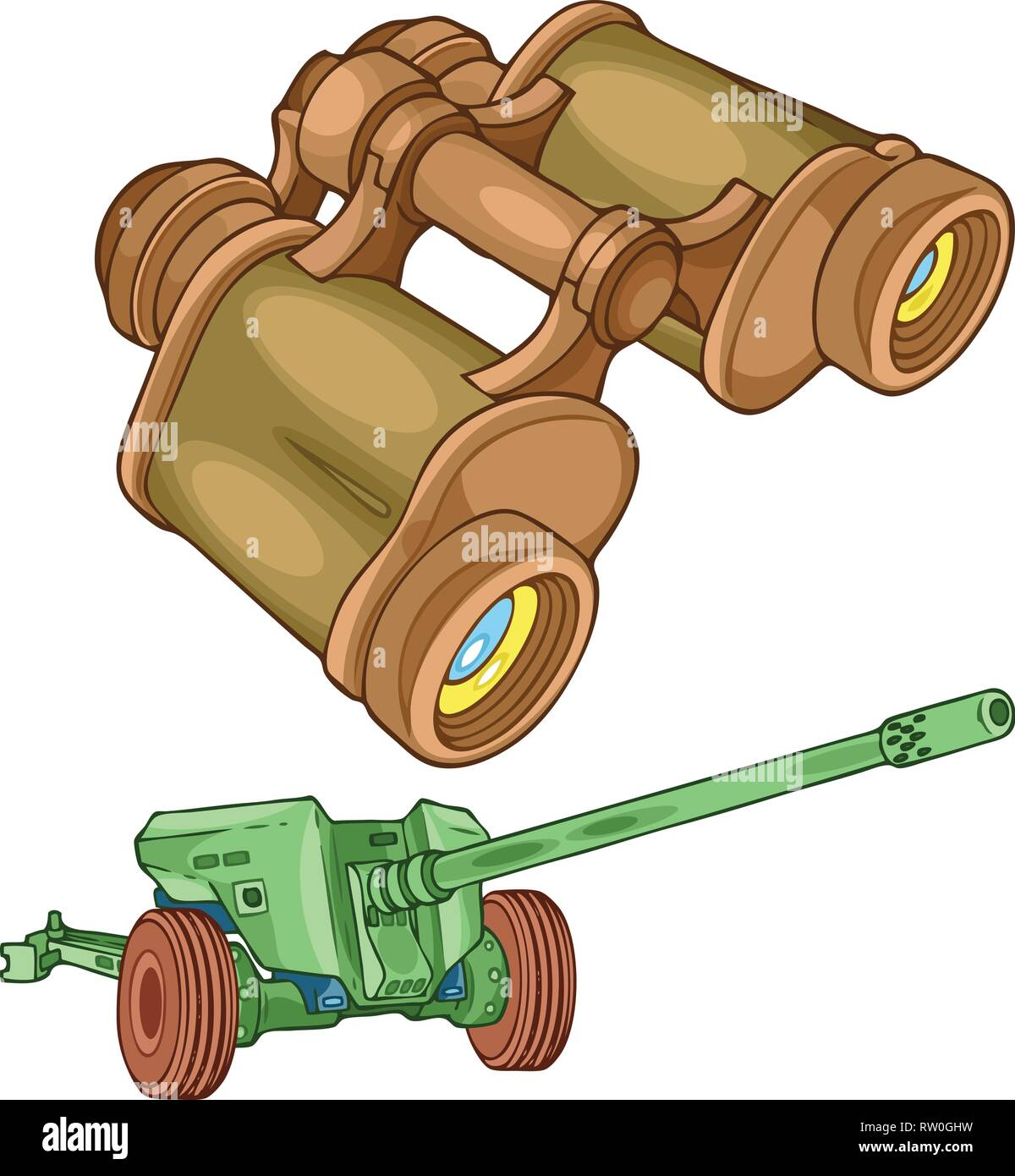 The illustration shows the military binoculars and gun on separate layers. - Stock Vector
