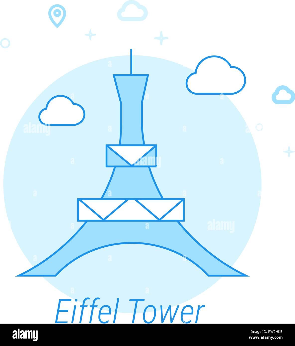 Eiffel Tower, Paris Flat Vector Icon. Historical Landmarks Related Illustration. Light Flat Style. Blue Monochrome Design. Editable Stroke. - Stock Vector