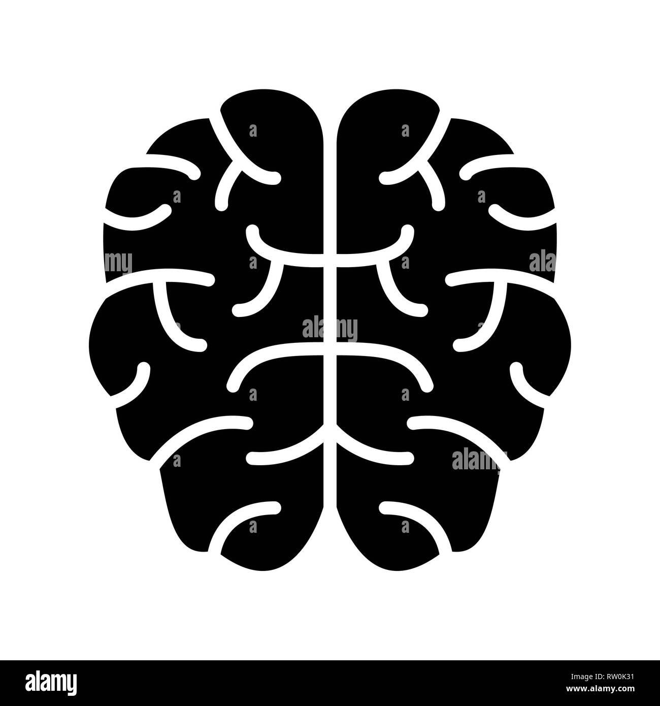 Brain Icon, Vector Illustration, Education Glyph - Stock Image