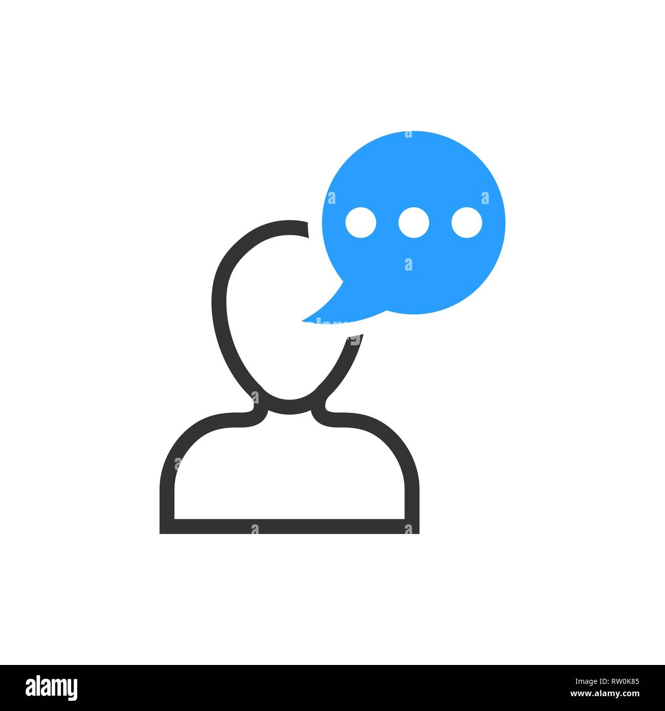 Man head mind thinking icon in flat style. Speech bubble with people vector illustration on white isolated background. Contemplating dialog business c - Stock Vector