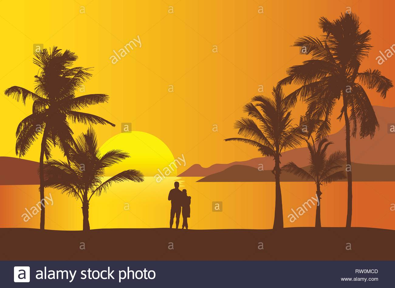Realistic illustration of sunset over sea or ocean with beach and palm trees. Two people standing together on the beach looking at the water. Orange s - Stock Vector