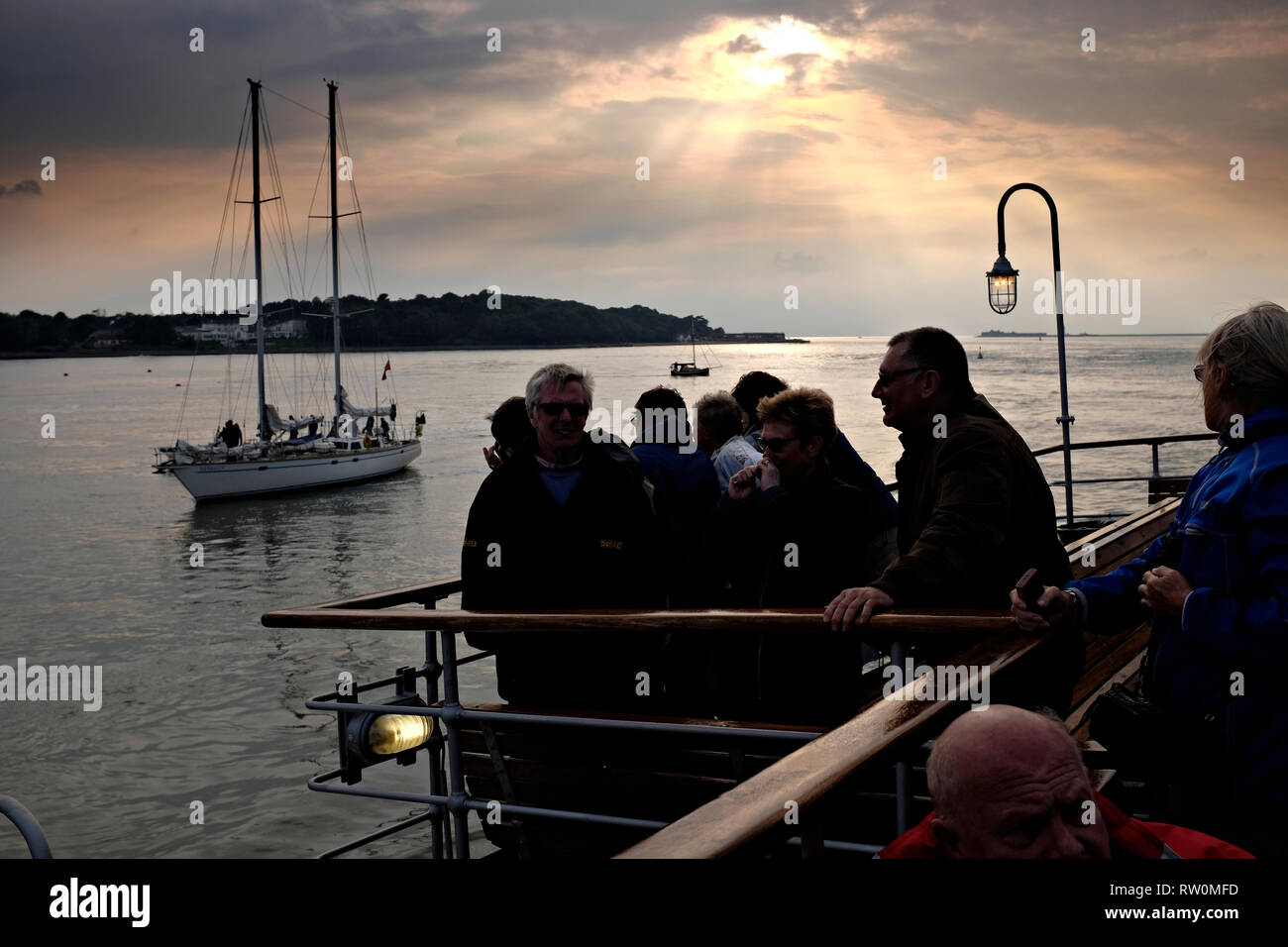 The Needles, view, south coast, Yarmouth, paddle steamer, PS, Waverley, on excursion, voyage, round, the , Isle of Wight, - Stock Image
