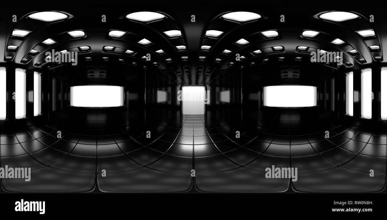 8K HDRI map, spherical environment panorama background, modern high contrast interior light source rendering (3d equirectangular rendering) - Stock Image