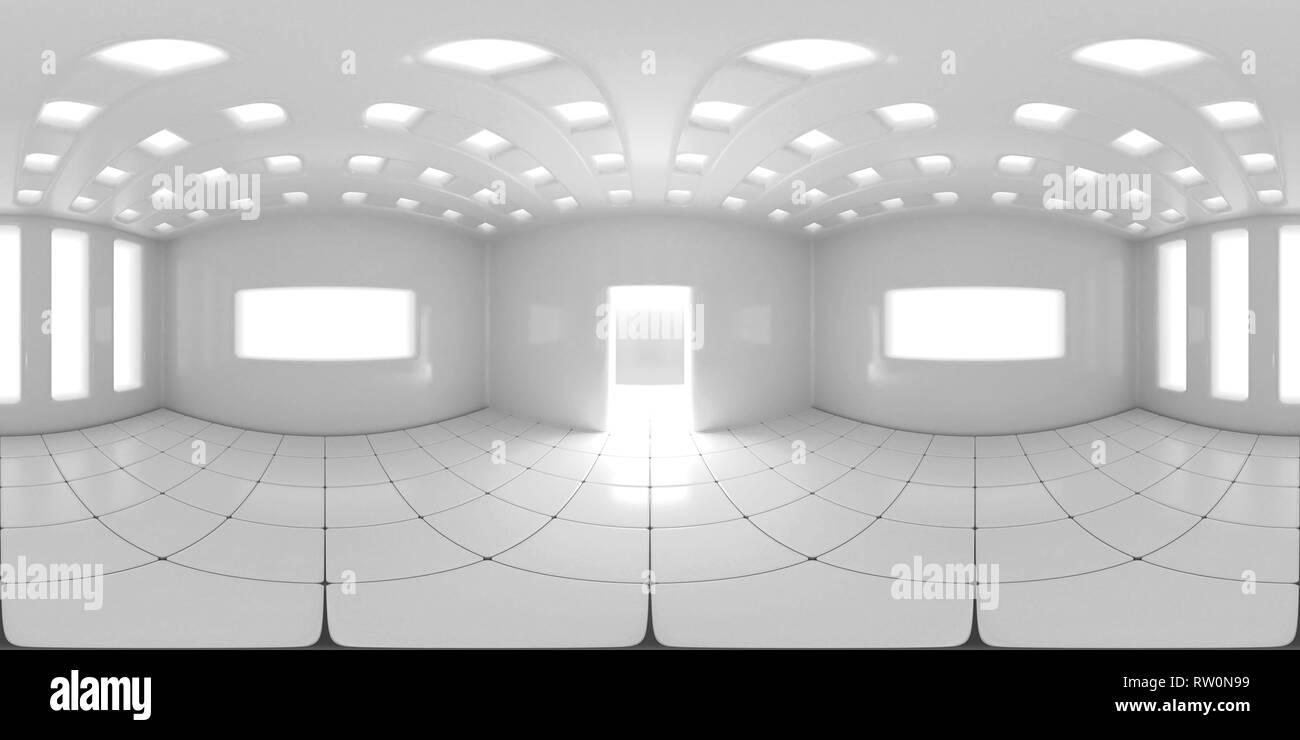 8K HDRI map, spherical environment panorama background, modern high contrast interior light source rendering (3d equirectangular illustration) - Stock Image