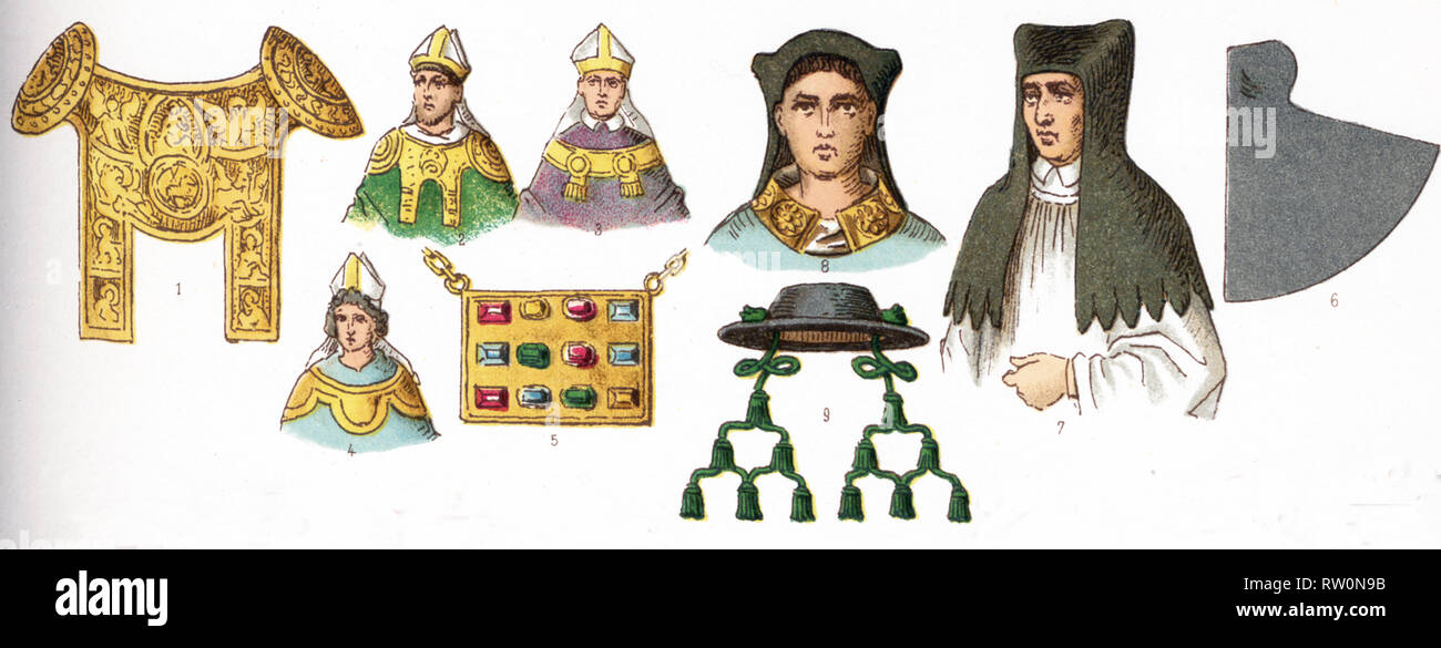The illustrations shown here depict ecclesiastical costumes. They are, by row, from left to right, top to bottom: 1 through 4 Rational (used by German bishops 12th-14the centuries; 5 Pectoral (worn 12th and 13th centuries); 6 through 8 Amess (A flexible, conical, brimless head-dress, covering the entire head, except the face); and 9 Bishop's hat. The illustration dates to 1882. - Stock Image