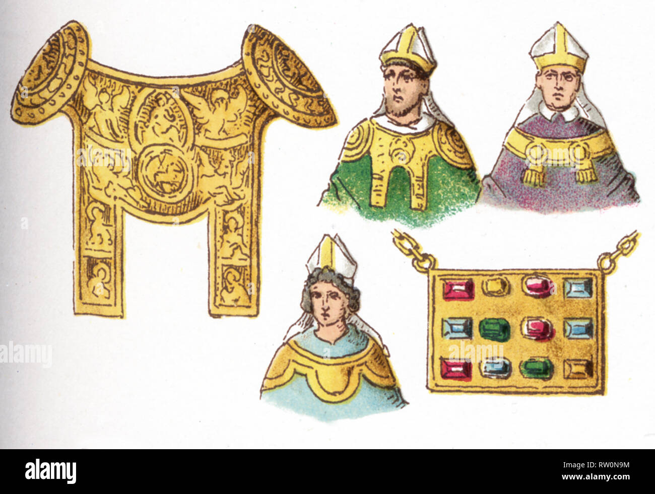 The illustrations shown here depict ecclesiastical costumes. They are, by row, from left to right, top to bottom: four Rationals (used by German bishops 12th-14the centuries and a Pectoral (worn 12th and 13th centuries). The illustration dates to 1882. - Stock Image