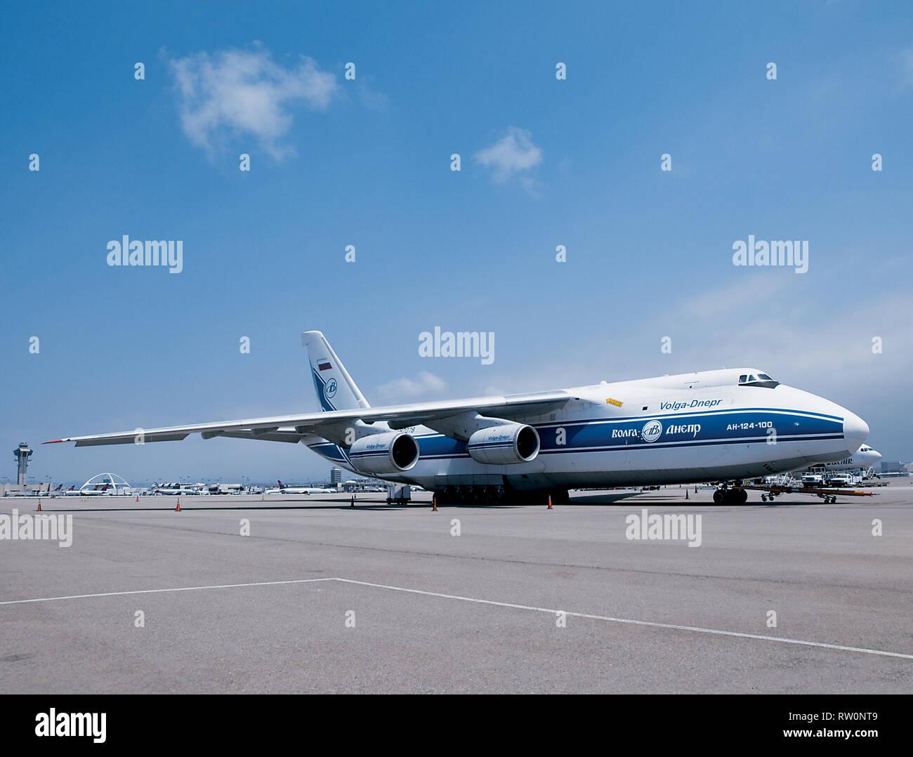 Volga-Dnepr Antonov AN-124 Heavy Lifter Aircraft Stock Photo