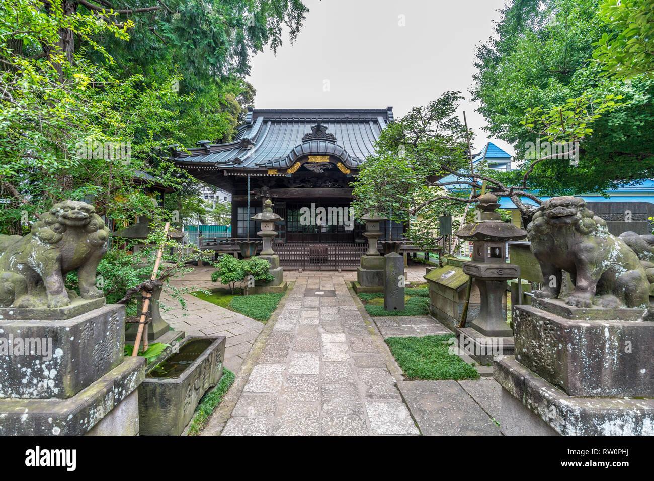 Setagaya, Tokyo, Japan - August 19, 2017: Moriiwao Temple. Awashimado hall devoted to Awashima-sama shinto deity who protects women from illness Stock Photo