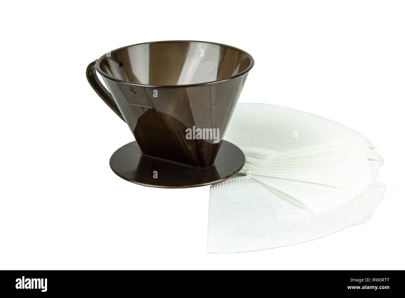 A coffee dripper with coffee filter isolate on white background. With clipping path. - Stock Image