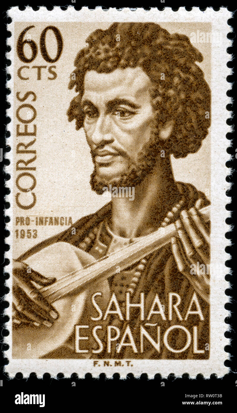 Postage stamp from the former Spanish Sahara issued in 1953 - Stock Image