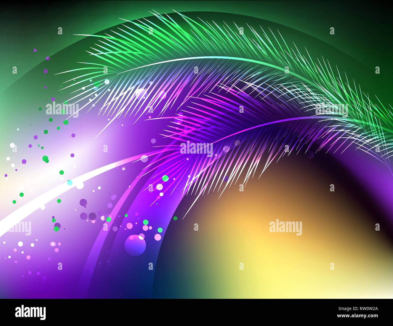 Abstract, purple, green, yellow, iridescent background with fluffy feather and bright confetti. Holiday Mardi Gras. - Stock Vector