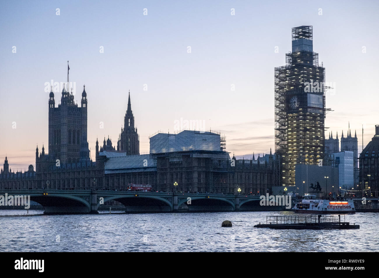 Houses of Parliament,Big Ben,clock,tower,with,scaffold,scaffolding,under,renovation,River Thames,Westminster,city,of,London,capital,England,English, Stock Photo