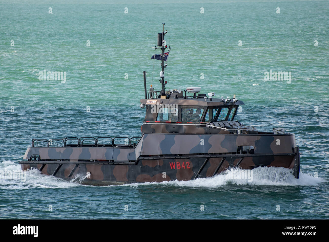 The British Army workboat 'Diablo' (WB42) approaching Portsmouth, UK on the 24th June 2016. - Stock Image