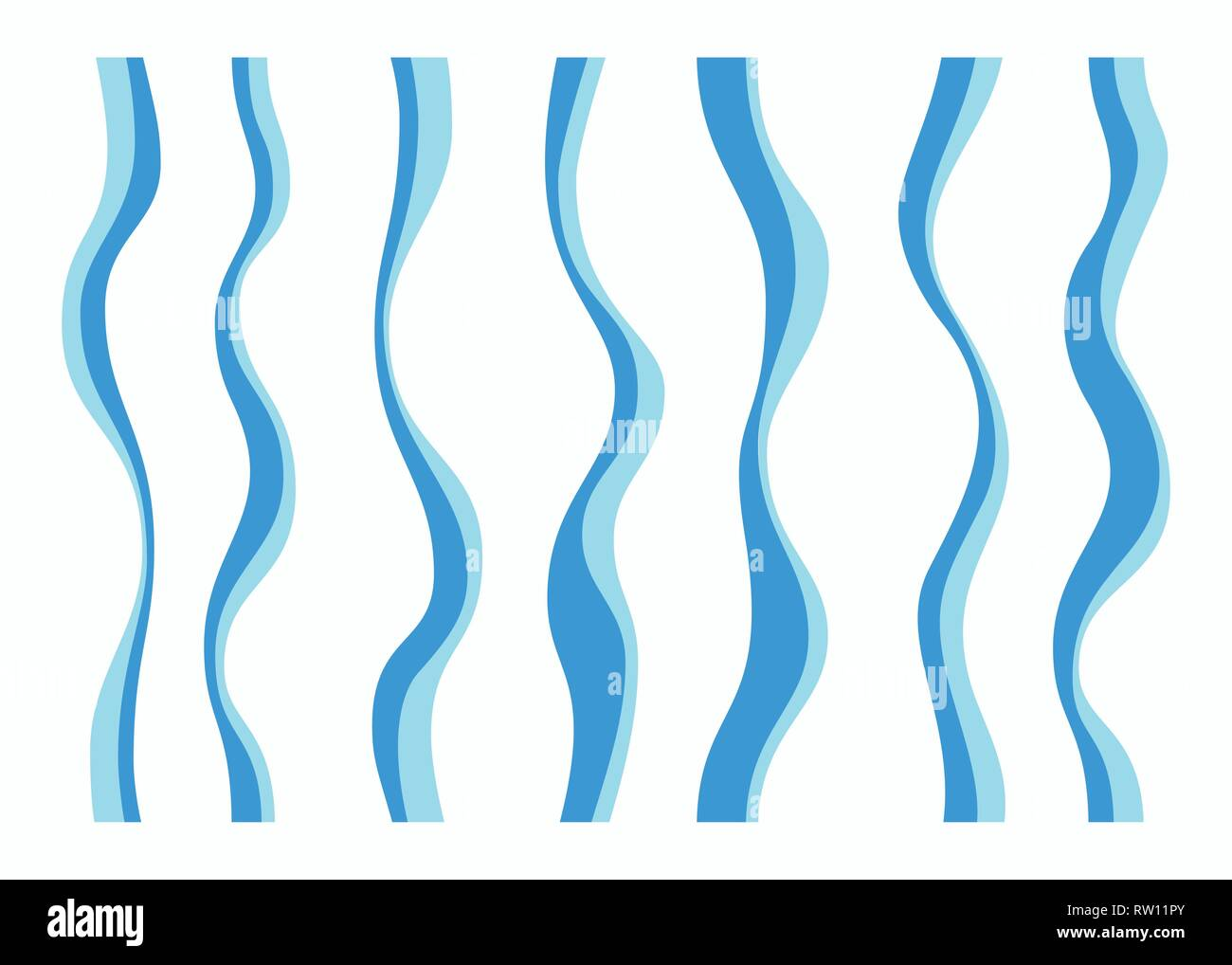Set of different curved lines. Abstract vector elements. Blue and turquoise colors. - Stock Image