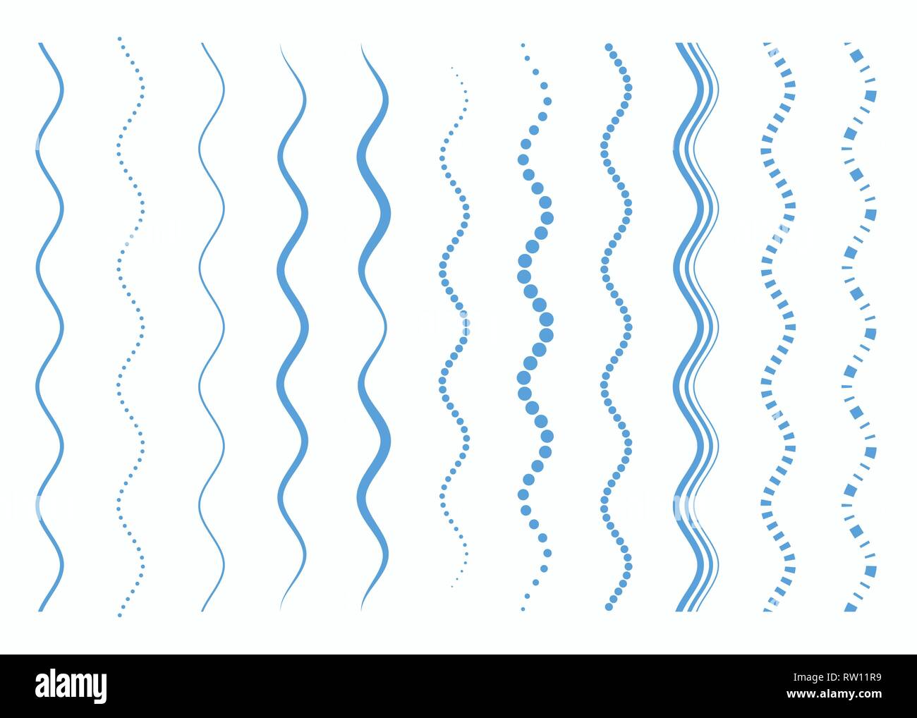 Set of different curved lines. Abstract vector elements. Light blue color. - Stock Image