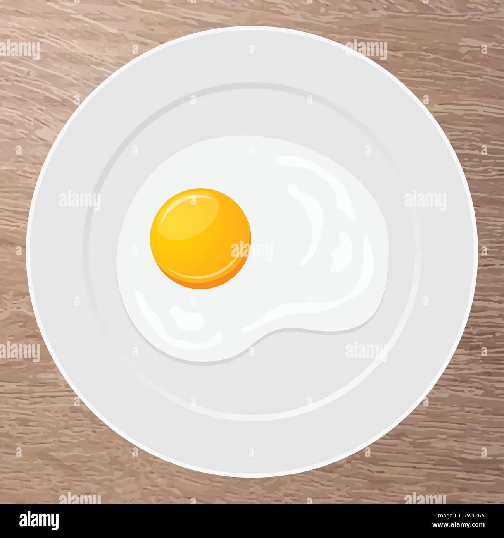 Plate with fried egg. Breakfast. Omelet. Vector illustration. - Stock Vector