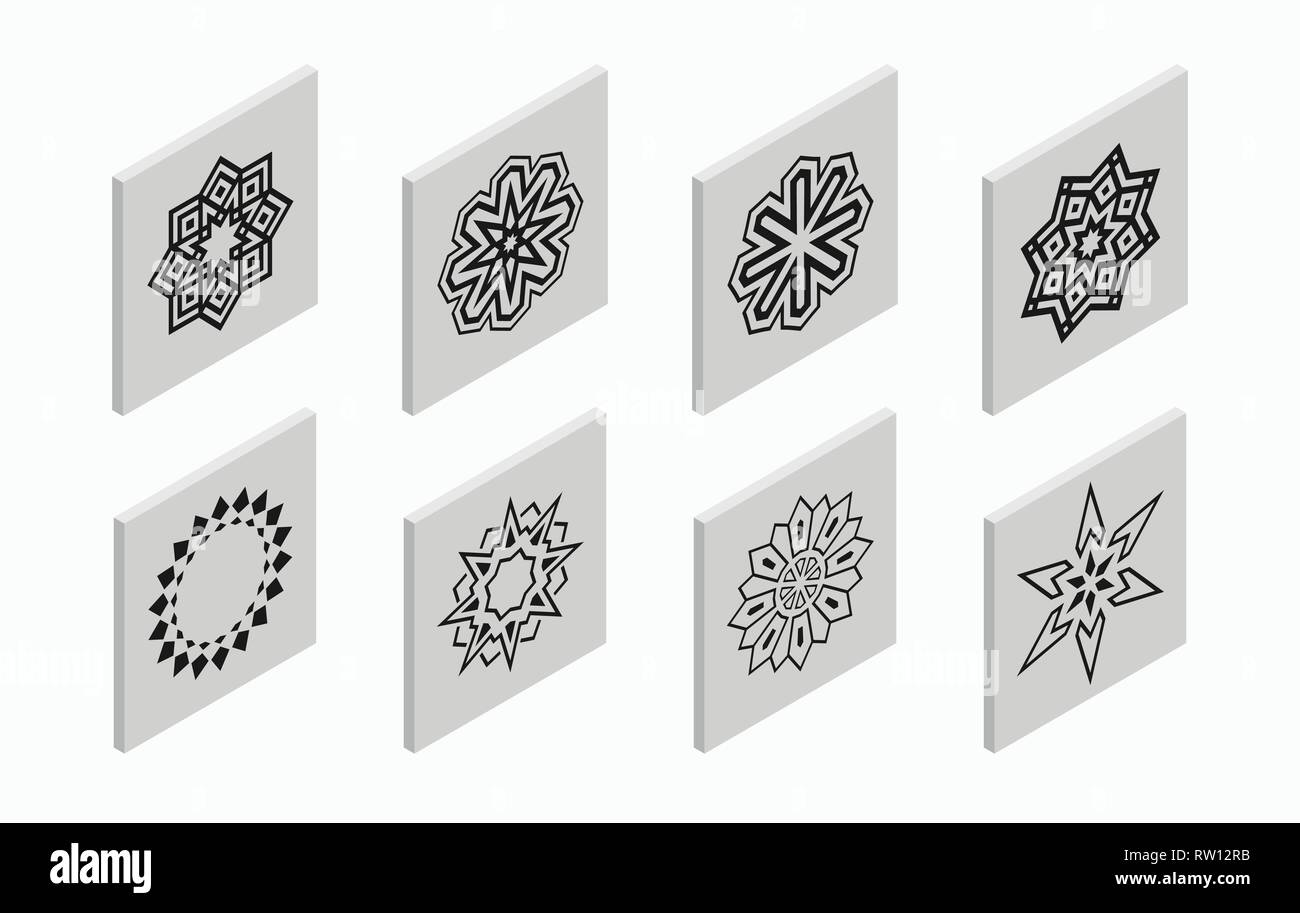 Isometric icons with abstract symmetric symbols. Flat 3D tiles, geometric logos, isolated on light gray background. Vector illustration. Stock Vector